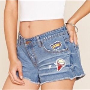 Forever 21 Cutoff Denim Shorts with Cute Patches